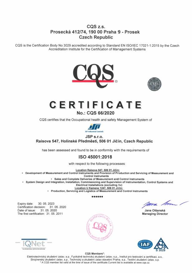 jsp cz industrial controls certificates